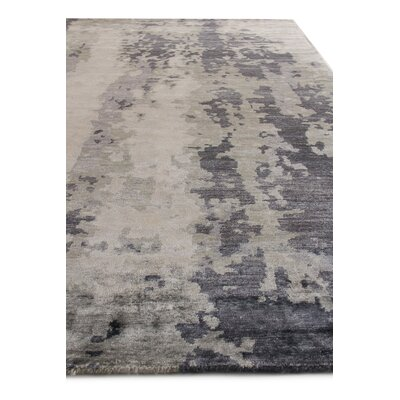 Abstract Expressions Hand-Knotted Silk Blue/Gray Area Rug Rug Size: Rectangle 12 x 15