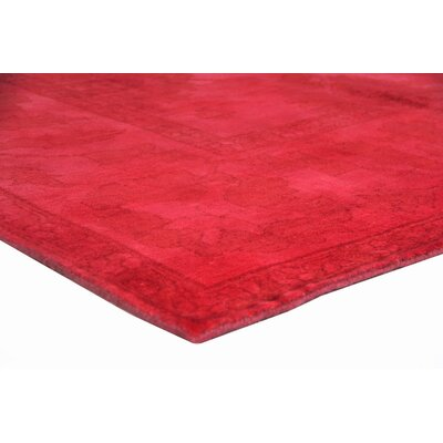 Overdyed Hand-Knotted Wool Red Area Rug Rug Size: Rectangle 9 x 12