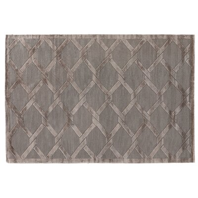 Hand-Knotted Wool/Silk Dark Gray/Brown Area Rug Rug Size: Rectangle 8 x 10