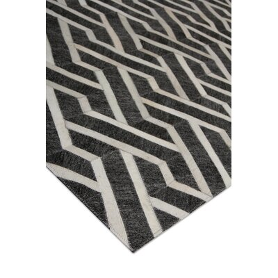 Berlin, Leather/Art Silk, Charcoal/Ivory Area Rug Rug Size: Rectangle 96 x 136