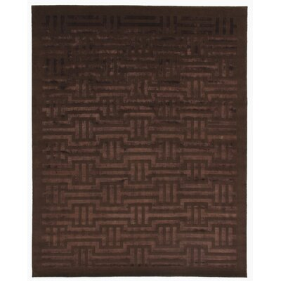 Super Tibetan Hand Knotted Wool/Silk Light Chocolate Area Rug Rug Size: Rectangle 9 x 12