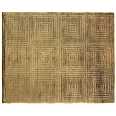 Embossed Hand Woven Silk Khaki Area Rug Rug Size: Rectangle 6 x 9