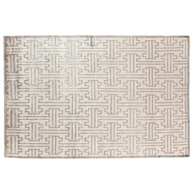 Ikat Hand Woven Silk Light Gray/Ivory Area Rug