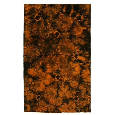 Flat Weave Hand-Woven Wool Orange/Black Area Rug