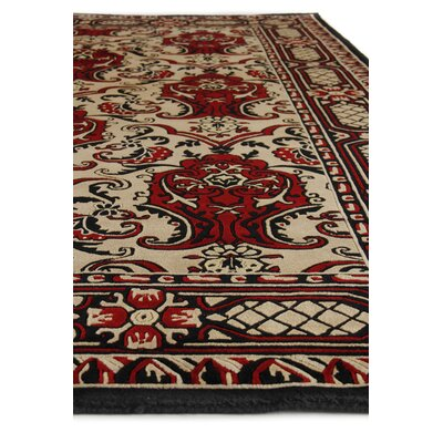 Traditional Hand-Knotted Wool Black/Red Area Rug Rug Size: Square 8