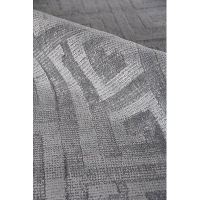 Samara Hand-Woven Silk Gray Area Rug Rug Size: Rectangle 12 x 15