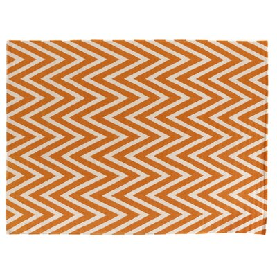 Hand-Woven Wool White/Orange Area Rug Rug Size: Rectangle 12 x 15