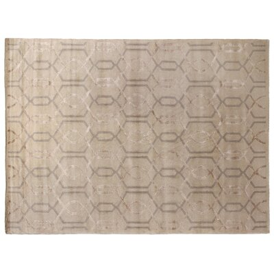 Super Tibetan Hand Knotted Wool/Silk Ivory Area Rug