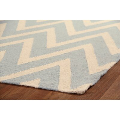 Hand-Woven Wool Cream/Turquoise Area Rug Rug Size: Rectangle 5 x 8