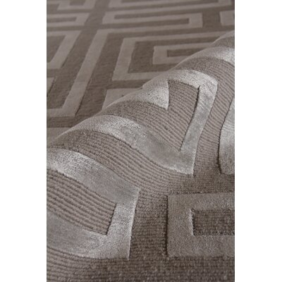 Hand-Knotted Wool/Silk Gray/Silver Area Rug Rug Size: Rectangle 8 x 10