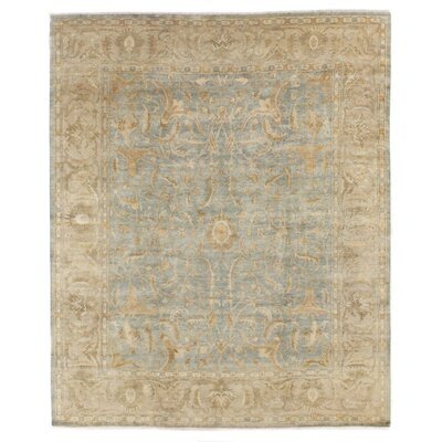 Oushak Hand-Knotted Wool Beige/Teal Area Rug Rug Size: Rectangle 14 x 18
