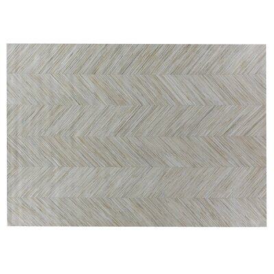 Natural Hide Leather Hand-Woven Gray Area Rug Rug Size: Rectangle 116 x 146
