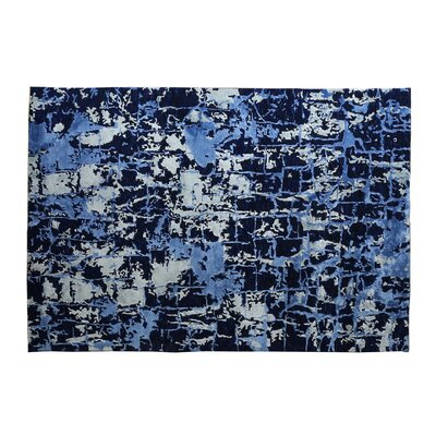 Hundley Cecily Hand-Knotted Wool Dark Blue Area Rug Rug Size: Rectangle 9 x 12