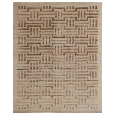 Super Tibetan Hand Knotted Wool/Silk Ivory Area Rug Rug Size: Rectangle 10 x 14