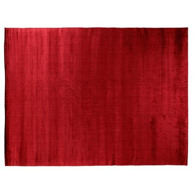 Herringbone Hand-Woven Silk Red Area Rug