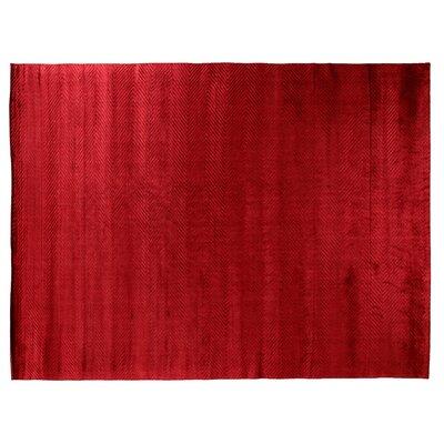 Herringbone Stitch Hand Woven Silk Red Area Rug