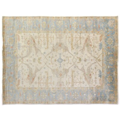 Oushak Hand-Knotted Wool Ivory/Blue Area Rug Rug Size: Rectangle 12 x 15