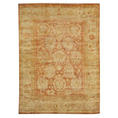 Oushak Hand-Knotted Wool Red/Beige Area Rug Rug Size: Rectangle 6 x 9