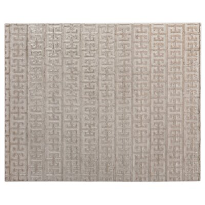 Kingsley Hand-Woven Silk Light Silver Area Rug Rug Size: Rectangle 14 x 18