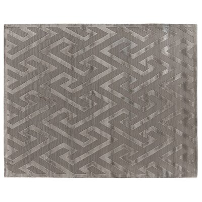 Hand-Knotted Wool/Silk Silver Area Rug