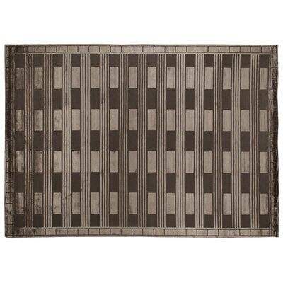 Hand-Knotted Wool/Silk Khaki Area Rug Rug Size: Rectangle 10 x 14
