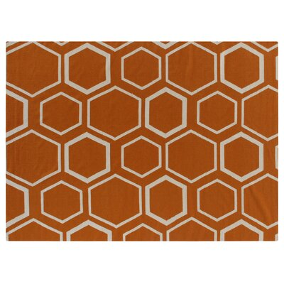 Hand-Woven Wool Orange/White Area Rug Rug Size: Rectangle 5 x 8