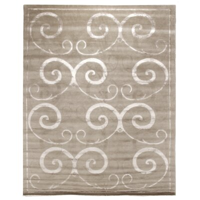 Hand-Knotted Wool/Silk Beige Area Rug Rug Size: Rectangle 6 x 9