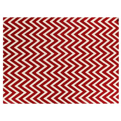 Hand-Woven Wool White/Red Area Rug Rug Size: Rectangle 96 x 136