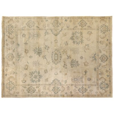 Oushak Hand-Knotted Wool Ivory Area Rug Rug Size: Rectangle 14 x 18