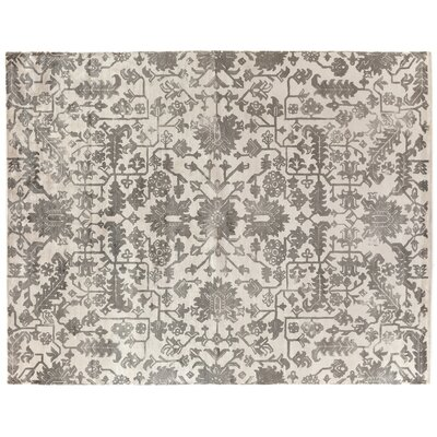 Hand-Woven Silk Ivory/Brown Area Rug Rug Size: Rectangle 6 x 9