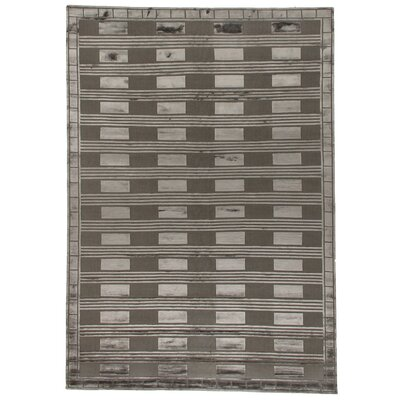 Hand-Knotted Wool/Silk Gray Area Rug