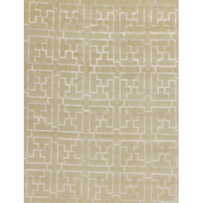Super Tibetan Hand-Knotted Beige/Silver Area Rug Rug Size: Rectangle 9 x 12
