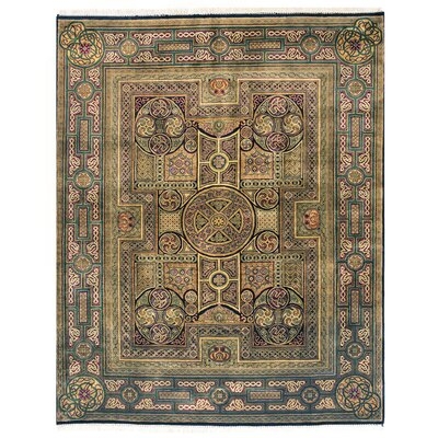 Royal Agra Hand Knotted Wool Beige/Green Area Rug Rug Size: Square 10