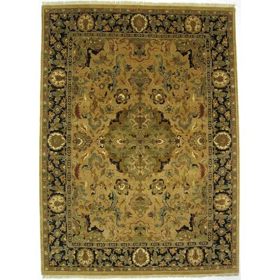 Moghul Hand-Knotted Wool Green/Black Area Rug