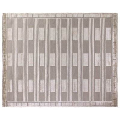 Hand-Knotted Wool Gray Area Rug Rug Size: Rectangle 10 x 14