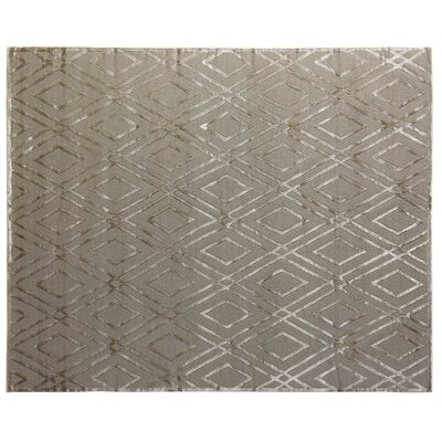 Hand-Knotted Wool/Silk Gray Area Rug Rug Size: Rectangle 12 x 15