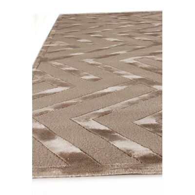 Hand-Knotted Wool/Silk Beige Area Rug
