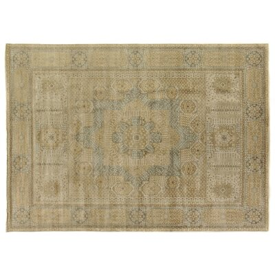 Mamluk Hand Knotted Wool Gold/Gray Area Rug Rug Size: Rectangle 10 x 14