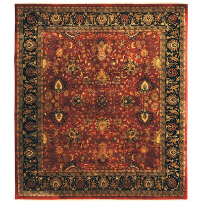 Super Mashad Hand-Knotted Wool Black/Cream Area Rug Rug Size: Rectangle 8 x 10