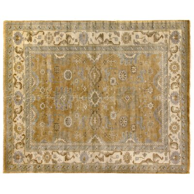 Oushak Hand-Knotted Wool Yellow/Ivory Area Rug Rug Size: Rectangle 12 x 15