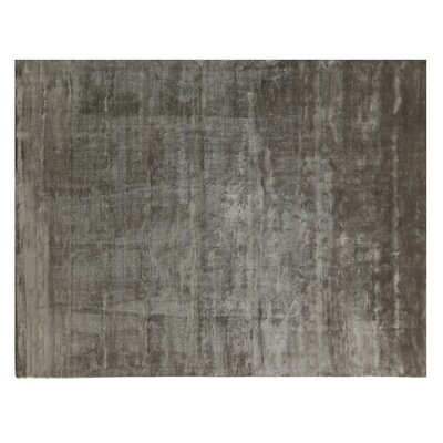 Plain Dove Hand-Knotted Silk Dark Gray Area Rug Rug Size: Rectangle 9 x 12