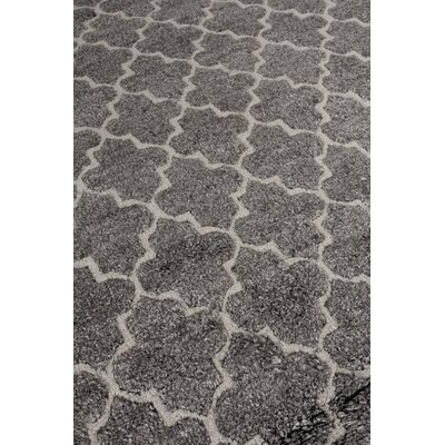 Luxe Look Hand-Knotted Silk Gray Area Rug Rug Size: Rectangle 12 x 15
