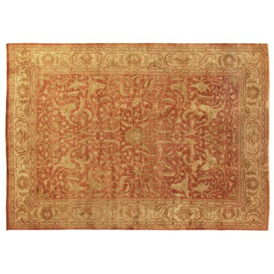 Oushak Hand-Knotted Wool Red/Ivory Area Rug Rug Size: Rectangle 4 x 6