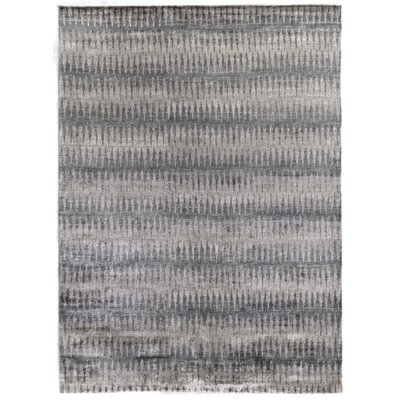 Super Tibetan Hand Knotted Wool/Silk Beige/Blue Area Rug