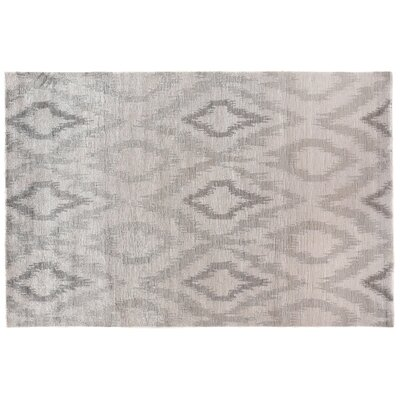 Ikat Hand-Woven Silk Silver Area Rug Rug Size: Rectangle 8 x 10
