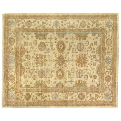 Oushak Hand-Knotted Wool Light Gold/Silver Area Rug