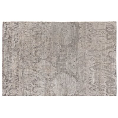 Antique'd Hand-Knotted Silk Brown Area Rug Rug Size: Rectangle 12' x 15'