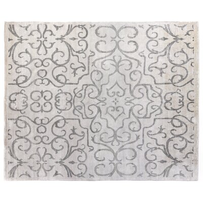 Hand-Knotted Ivory/Light Gray Area Rug Rug Size: Rectangle 6 x 9