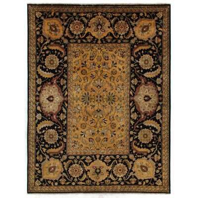 Tabriz Hand Knotted Wool Gold Area Rug Rug Size: Rectangle 14 x 18