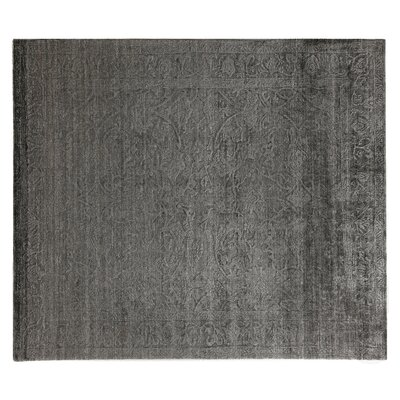 Iris Hand Knotted Silk Light Charcoal Area Rug
